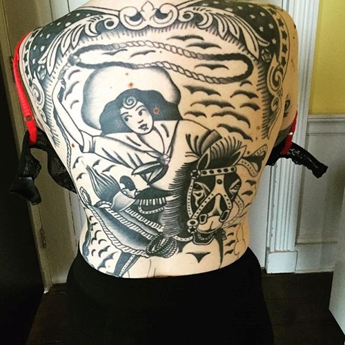 """a5b7ff0d4 ... also shared this amazing back piece, a work in progress but still  looking brilliant. """"My backpiece was tattooed by Sway at Sacred Electric in  Leeds."""